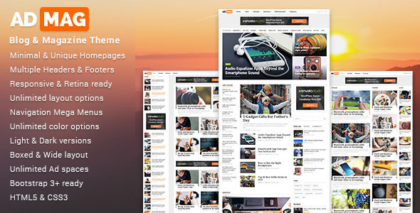 Download ADMAG - Responsive Blog & Magazine HTML Template Magazine Html Templates