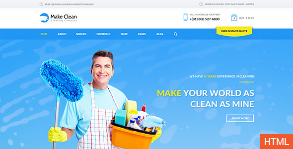 Download Make Clean - Cleaning Company HTML Template Company Html Templates