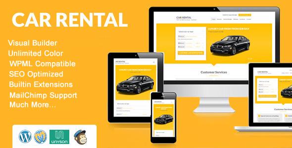 Download Car Rental WordPress Theme Landing Page Car WordPress Themes