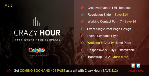 Download Crazy Hour - Event Management HTML Template Fast Load Html Templates