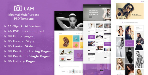 Download CAM | Minimal MultiPurpose PSD Template White Blogger Templates