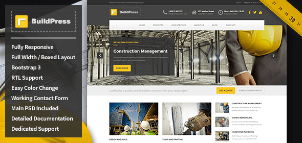Download  BuildPress - Construction Business HTML Template Business Html Templates