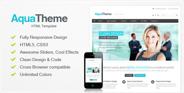 Download Aqua - Responsive HTML Template Responsive Html Templates