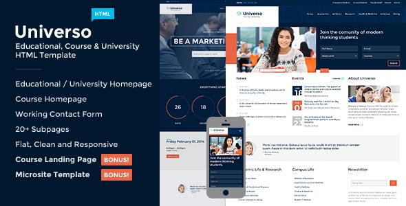 Download Universo - Courses, Events, Education & University University Html Templates