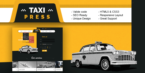 Download TaxiPress - Taxi Company HTML5 Template Retro Html Templates