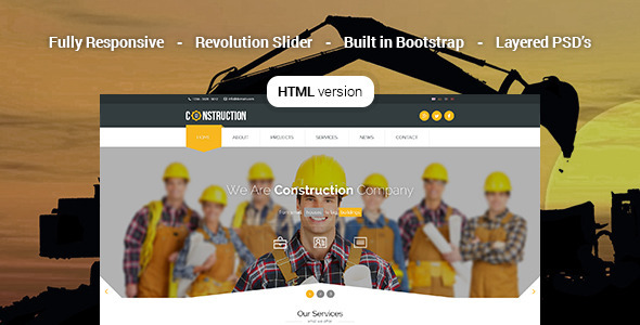 Download Construction - Industrial HTML5 Template Amp WordPress Themes