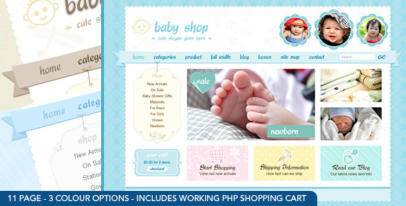 Download Cute & Sweet - 3 Color - HTML & PHP Shopping Cart Retro Html Templates