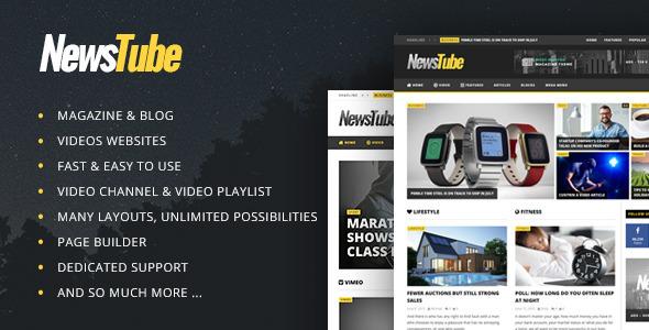 Download NewsTube - Magazine Blog & Video Youtube WordPress Themes