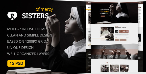 Download Sisters of Mercy — Nonprofit, Charity & Church PSD Template Church Joomla Templates