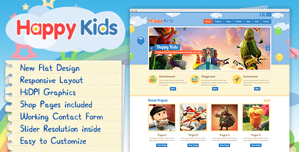 Download Happy Kids - Multipurpose HTML Template Cute Html Templates