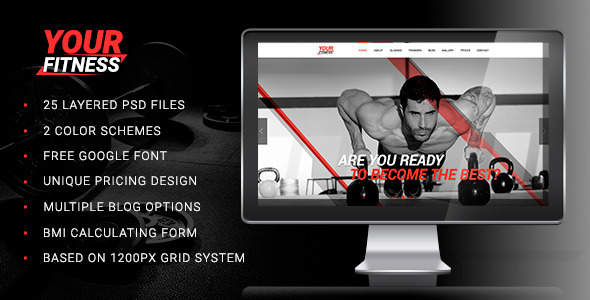 Download Your Fitness — Sport Blog, Fitness Club, Gym PSD Red Joomla Templates