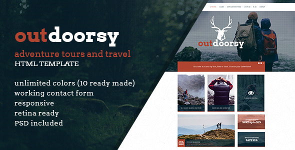Download Outdoorsy - Adventure Tours and Travel HTML Template Travel Html Templates