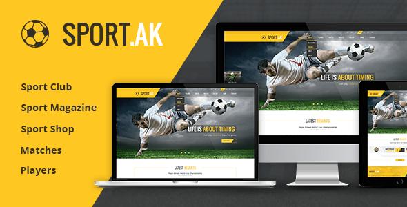 Download WordPress Sports Theme - SportAK Yellow Html Templates