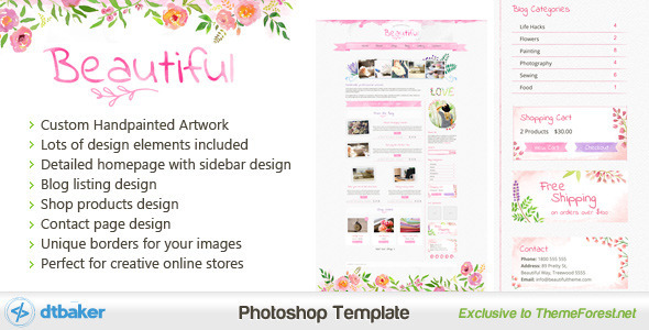 Download Beautiful - A Hand painted Watercolor PSD Pink Blogger Templates