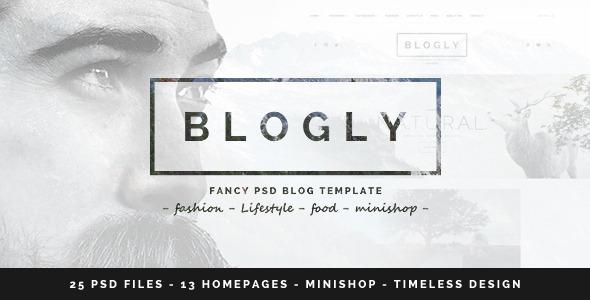Download  Blogly - Fancy PSD Blog Template Fashion Blogger Templates