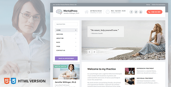Download Psychology, Counseling & Medical Website Template — MentalPress Fast Load Html Templates