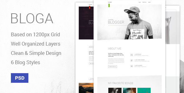Download Bloga - Modern Creative Multipurpose Blog Template Music Blogger Templates
