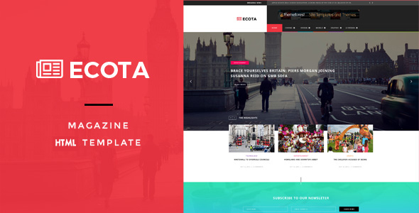 Download Ecota - Responsive Magazine & News HTML Template News Html Templates