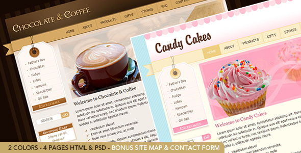 Download Chocolate Coffee & Cupcakes - HTML Pink Html Templates