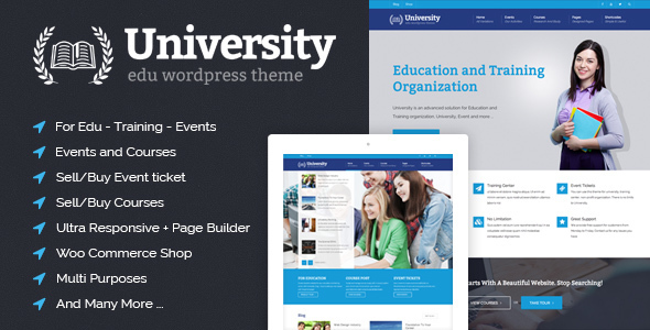 Download University - Education, Event and Course Theme University WordPress Themes