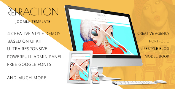 Download Refraction — Creative Agency and Blog Responsive Joomla Multipurpose Template with 4 Demo Blog Joomla Templates