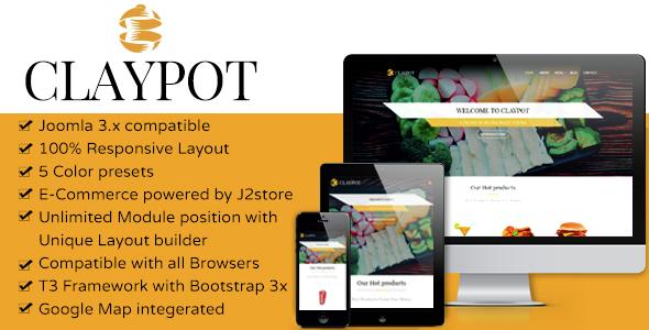 Download Claypot - Responsive Joomla eCommerce Restaurant Template Restaurant Joomla Templates