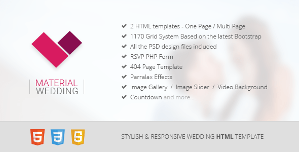 Download Material Wedding - Clean and Beautiful Wedding HTML Template Wedding Html Templates