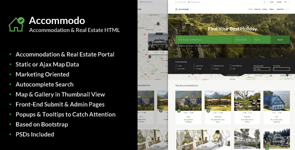 Download Accommodo - Accommodation Travel Template Portal Html Templates