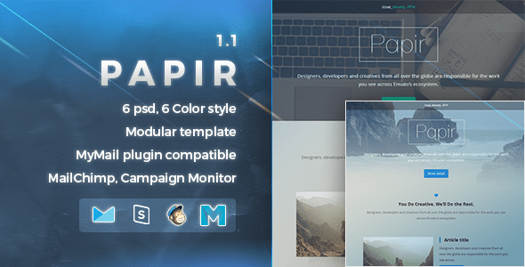Download Papir | Responsive Email Template Yellow Html Templates