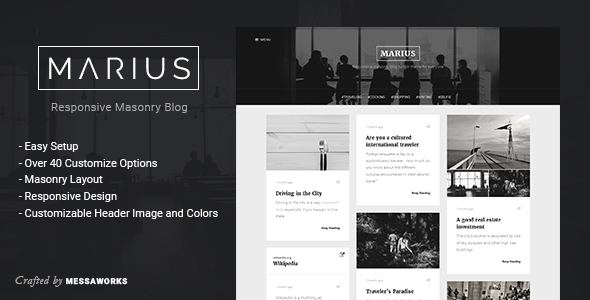 Download Marius - Responsive Masonry Blog Tumblr Theme Music Tumblr Themes