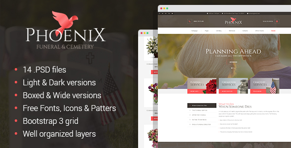Download Phoenix - Funeral Service, Funeral Home & Cemetery PSD Template Church Joomla Templates