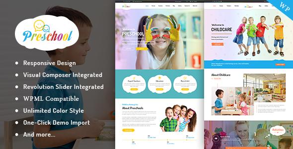 Download Preschool - Nurseries Kindergarten and School WordPress Theme School WordPress Themes