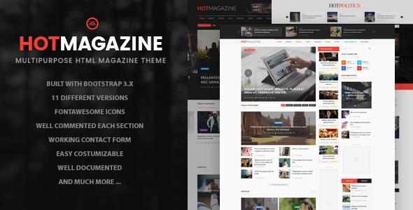 Download Hotmagazine - News & Magazine HTML Template Magazine Html Templates