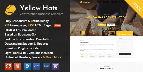Download Yellow Hats - Construction, Building & Renovation HTML Template Yellow Html Templates