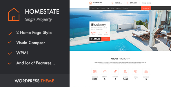 Download HOME STATE - Single Property Real Estate WordPress Theme Property WordPress Themes