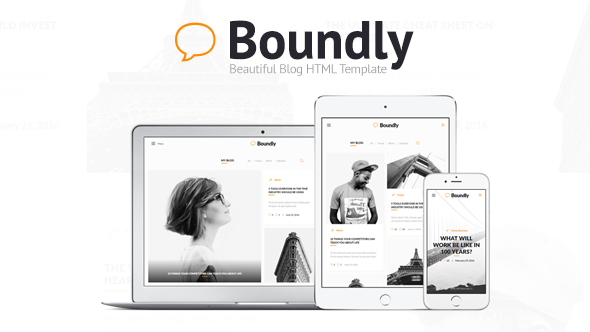Download Boundly - Beautiful Blog HTML Template White Blogger Templates