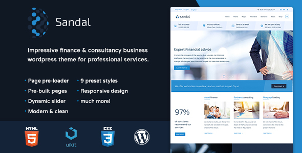 Download Sandal - Finance & Consultancy Business WordPress Theme Joomla WordPress Themes