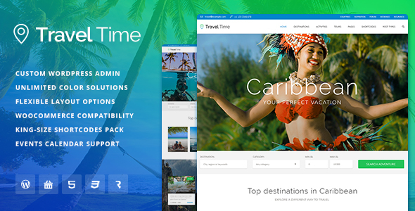 Download Travel Time - Tour, Hotel and Vacation Travel WordPress Theme Travel WordPress Themes