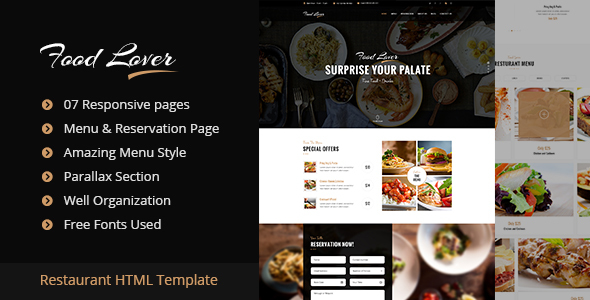 Download Food Lover Restaurant HTML Template Restaurant Html Templates