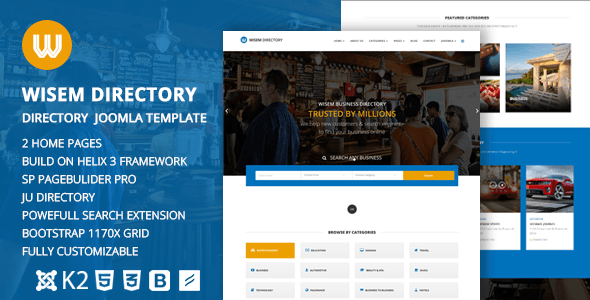Download Wisem – Responsive Directory template for Joomla Directory Joomla Templates
