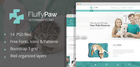 Download FluffyPaw - modern pet care and veterinary PSD Template Hospital Joomla Templates