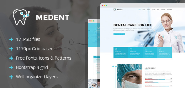Download Medent - dental clinic PSD template Hospital Joomla Templates