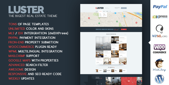 Download Luster - The Biggest Real Estate WordPress Theme WordPress Themes 2017