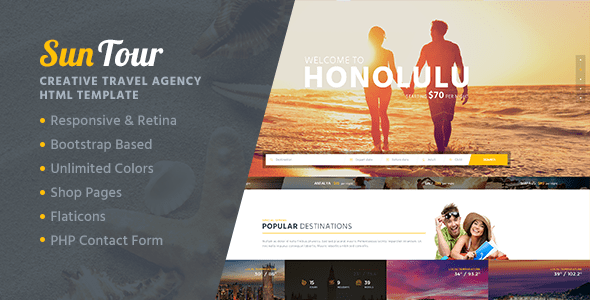 Download SunTour - Creative Travel Agency HTML Template Travel Html Templates