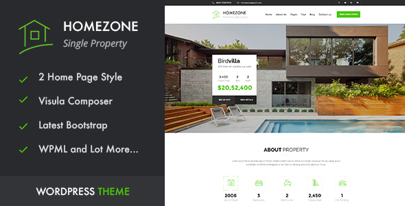 Download HOME ZONE - Single Property Real Estate WordPress Theme Property WordPress Themes