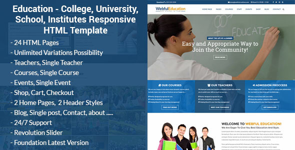 Download Education - College, University, School, Institutes Responsive HTML Template University Html Templates