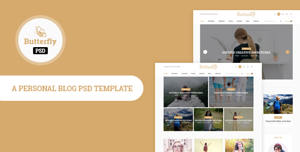 Download Butterfly- Personal Blog PSD Template White Joomla Templates