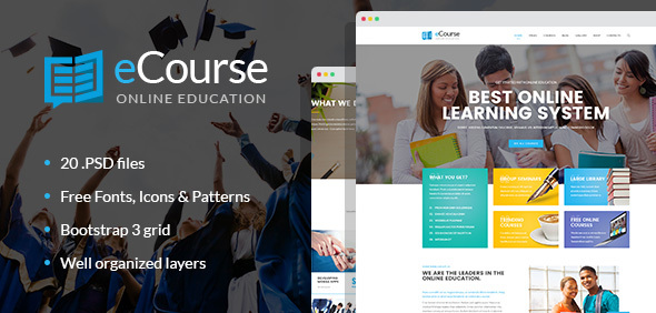 Download eCourse - Learning Management System, Online LMS PSD template Education Joomla Templates