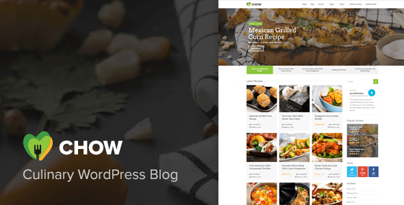 Download Chow - Recipe & Food WordPress Theme Recipe WordPress Themes