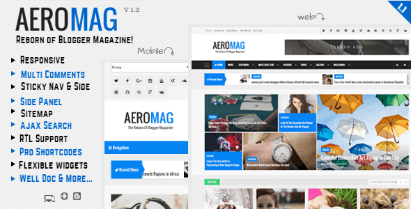 Download AeroMag - News & Magazine Responsive Blogger Template Clean Blogger Templates